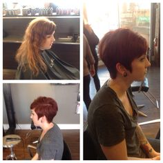 What a gorgeous change! She looks GREAT with this funky short cut and some vibrant reds. #vibrantred #change #shorthair #studiobesalon #hairbykortney