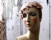 Vintage Women's Hat Fascinator Pink Velvet Silk Leaves Cream Lace / Hats Accessories 1950's Cocktail Fashion
