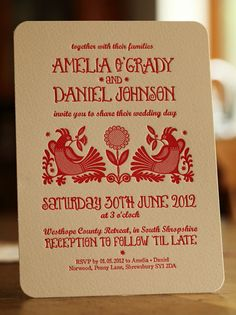 Tinker Red and White Letterpress Wedding Invitation by Artcadia