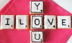 Cute! Scrabble Tile Shortbread cookies! For date nights/geeky parties.