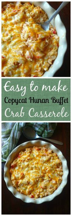 Copycat Crab Casserole from Hunan Chinese Buffet is a combination of crabmeat, cabbage, celery, sweet red bell peppers, mild cheddar cheese, cream cheese,sour cream, mayo, soy sauce, freshly squeezed lemon juice and a touch of seasoning. The Copycat Crab Casserole from Hunan Chinese Buffet then baked to perfection in a 350-degree oven for about 30 minutes.