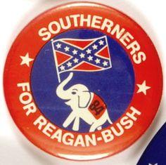 Southerners for Reagan-Bush button-how apropos. Presidential Libraries, 2016 Presidential Election, Nancy Reagan, Ronald Reagan, Election Slogans, Campain Posters, 40th President, Reagan Bush, Barbara Bush