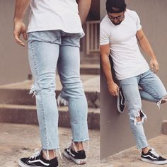 T O R N #Torn #Faded #jeans with a #sexy #white crew neck #tShirt and #sneakers #Hot #MensFashion #Style #BeauMondeSA #Fashion