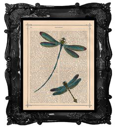Dancing DRAGONFLY ART print dictionary page ANTIQUE Dragonflies antique book page dragonfly art on Etsy, $10.00