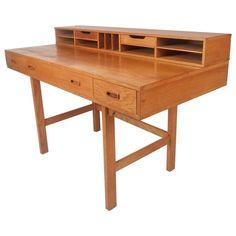 Mid-Century Modern Teak Flip-Top Desk by Jens Quistgaard | From a unique collection of antique and modern desks at https://www.1stdibs.com/furniture/storage-case-pieces/desks/