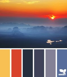 Rising hues - sunset and smoky mountains indigo colour, design seeds, blue home decor Colour Pallette, Colour Schemes, Color Combos, Color Patterns, Sunset Color Palette, Sunset Colors, Blue Home Decor, Colour Board, Color Swatches
