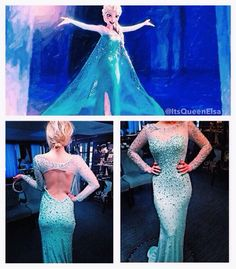 Frozen inspired Elsa prom dress-why can't we be in high school for this??? @Sarah Bambrick
