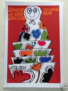 "Spanish movie Poster 4 film/""Red Circus ELEPHANT/""child art.Pink.Children room"