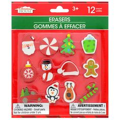 6pc Elf Erasers Rubbers School Pencil Case Festive Stationery Christmas Shelf