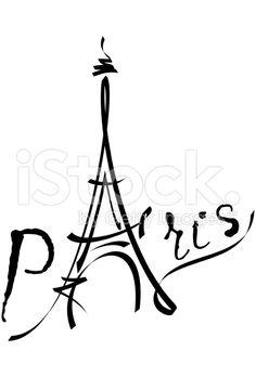 Tour Eiffel en illustration vectorielle noir cliparts vectoriels libres de droits