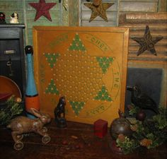 Primitive Antique Vtg Chinese Checkers Game Board Green Chinker-Chek w/ Rules #NaivePrimitive