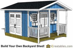 12x16 gable shed with porch plans