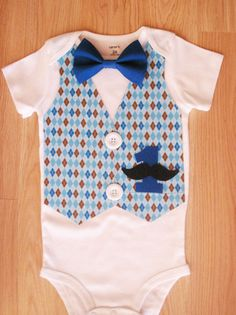 Mustache outfit for boys Blue argyle vest Argyle bow tie Little man birthday outfit Baby boy coming home outfit Baby boy take home outfit
