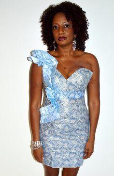 African Ankara blue wax print dress