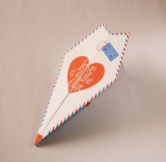a handmade card using this DIY paper airplane card kit. by oingeshop_etsy Valentines Gifts For Her, Valentine Day Cards, Diy Paper, Paper Crafts, Tarjetas Diy, Paper Plane, Printable Paper, Card Kit, Anniversary Cards