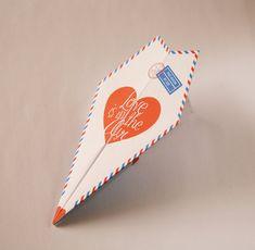 DIY Printable Paper Airplane Valentines / Anniversary Card