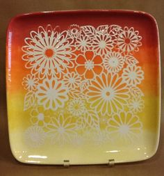 Ombre painted pottery at The Claypen. Using a stencil. Great fun for an arts and crafts day!