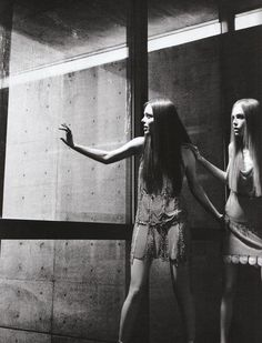 """pradaphne: Coco Rocha and Siri Tollerod in """"Archi Couture"""", photographed by Karl Lagerfeld for Numéro March 2008."""