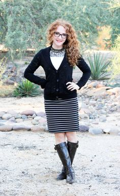 Delusions of Grandeur - for fall: stripes, cardigan, collar and boots