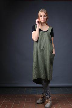 Linen Pinafore. Linen apron. Square Cross Linen Apron. Japanese Apron. Sizes XXS to XXL