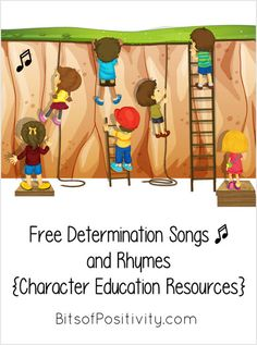 Lots of free determination songs and rhymes for home or school; character education resources - Bits of Positivity Character Education Videos, Character Trait, Character Development, Sing Along Songs, Free Songs, Preschool Songs, Christian Kids, Social Skills, Social Work