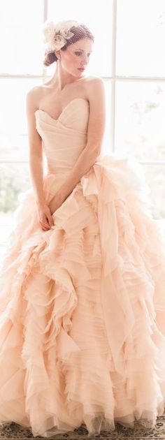 Check Out 30 Romantic Pastel Wedding Gowns. Pastel wedding dresses have been very popular recently, and many designers create pastel masterpieces for your big day and many celebrities choose such gowns to get married. Pastel Wedding Dresses, Blush Pink Wedding Dress, Blush Pink Weddings, Gorgeous Wedding Dress, Beautiful Dresses, Blush Gown, Bridesmaid Dresses, Peach Gown, Peach Blush
