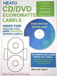Neato CD/DVD Labels, Economatte 100 Labels - 50 Sheets, https://www.amazon.com/dp/B0042IANVM/ref=cm_sw_r_pi_dp_x_c8GfybJNWGXSJ reate unique printable CD labels and DVD labels with our online design studio Perfect for personal Digital Data Storage, Digital Photo Albums and Music and Media Storage 2 CD DVD Labels and 2 Utility Labels, Per Sheet - 41 mm Center Hole Economatte White Labels - Works on both InkJet Printer and Laser Printers