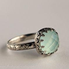 Aqua Chalcedony Cocktail Ring in Sterling Silver. $124.00, via Etsy.