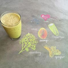 """antioxidant packed smoothie recipe from SoFreshLiving: 1/2 cup mango 1/4 cup cucumber  Small handful fresh parsley 1, 1/4"""" piece fresh ginger or #TheGingerPeople prepared minced ginger  1 scoop vanilla protein powder (optional) 1 tsp chia 1 cup almond milk 1/2 cup water  Ice  #blendandenjoy #CookingWithGinger"""