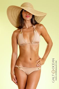 www.GaltOceanSwimwear.com Nothing brings out bronze skin like a gold bikini! (Available with Navy Blue or White on the reverse side...see website).