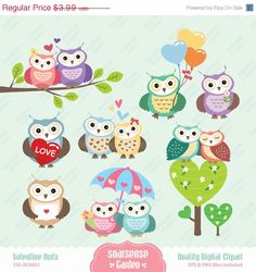 Valentine Owls Digital Clipart