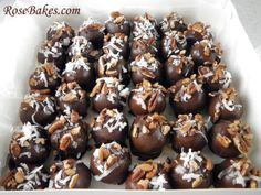 German Chocolate Cake Balls Boxed Up