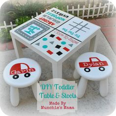 DIY Personalized Toddler Table and Stools from Ikea only $24 total!!