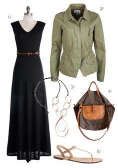 bohemian road trip // maxi dress and military jacket // via megan auman
