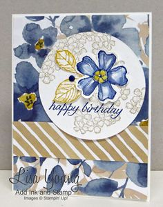 Birthday Blossoms stamp set by Stampin' Up!. circle of flowers on background of English Garden paper. Handmade birthday card. Lisa Young, Add Ink and Stamp