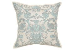 Sofia 22x22 Cotton Pillow, Blue
