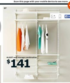 Algot Storage solution for His and Her closets. Ikea 2015 Catalog