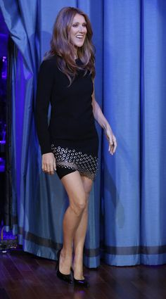 "I love this grommet-embellished LBD that Celine Dion wore for her Oct. 28, 2013, appearance on ""Late Night With Jimmy Fallon."""
