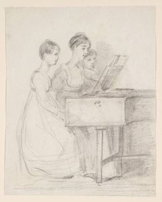 John Constable, Mary Ann Bridges at the Harpsichord with Two of her Sisters, c.1804