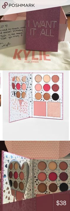 Kylie I want it all Palette 🎨 💄💋 Each I Want It All contains the following shades:  Kyshadow  Birthday Girl (satin shimmering champagne) Buttercream Frosting (matte warm cream) 1942 (matte warm taupe) Forever Young (matte warm soft pink) New Year, New Me (metallic red plum) The New Black (matte bright pink) Party Time (matte light dusty mauve) Celebrate (metallic golden brown) Midnight (matte black) Blush  Cheers (matte light pink) Highlighter  Confetti (shimmering light pink) Kylie…
