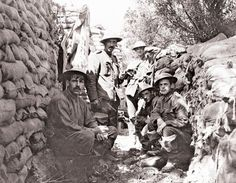 THIS DAY IN WWI: JUNE 2, 1916 - Ypres: Battle of Mont Sorrel Begins.  Pictured - Canadian soldiers in a reserve trench at Ypres, June 1916. By now the tin hat has become standard issue for British and Imperial forces on the Western Front. The summer campaigning season...