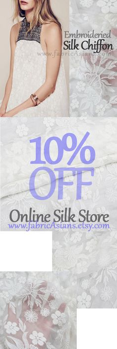 White Embroidered Chiffon. Pure Silk. White Silk Chiffon. White Bridal Fabric. Wedding dress fabric by fabricAsians on Etsy