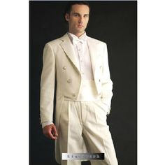 Mens Classic Double Breasted Ivory Wedding Tail Suits Tuxedos Custom SKU-123027