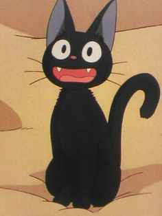 jiji is prob my fave ghibli character, but i still love all of them💞💞 Studio Ghibli Films, Art Studio Ghibli, Totoro, Hayao Miyazaki, Kiki Delivery, Kiki's Delivery Service Cat, Animation, Cat Drawing, Howls Moving Castle