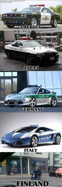 Meanwhile In Finland.haha that's funny. I'm loving the Italy police car. If those were American police cars, I'd become a cop 😜 Memes Humor, Car Humor, Funny Jokes, Car Memes, Police Humor, Funny Police, Funny Commercials, Silly Jokes, Military Humor