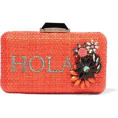 KoturHola Espey Embellished Raffia Box Clutch (4745 TWD) ❤ liked on Polyvore featuring bags, handbags, clutches, purses, orange, orange clutches, red handbags, hand woven bags, orange handbags and metallic clutches