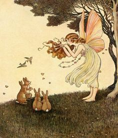 Vintage Illustrations Music for Fairy Garden Friends Canvas Wall Art - A young fairy with pink wings and brown flowing hair, is joyfully playing a tune for the woodland creatures beneath a tree on a gorgeous summer day. Fairy Dust, Fairy Land, Fairy Tales, Forest Fairy, Art And Illustration, Vintage Illustrations, Friend Canvas, Art Beat, Kobold