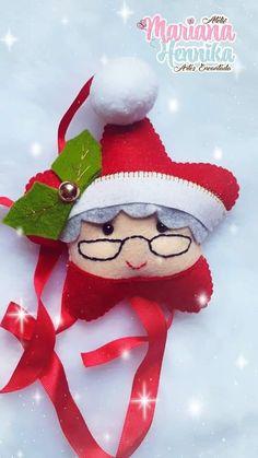 Felt Christmas Decorations, Felt Christmas Ornaments, Christmas Love, Homemade Christmas, Christmas Crafts, Folded Fabric Ornaments, Felt Ornaments Patterns, Handmade Ornaments, Preschool Christmas