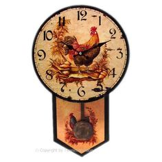 Rustic Country Kitchen Roosters/Farm Pendulum Clock: Home