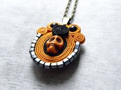 Haloween soutache necklace pendant - skull necklace pendant  orange black  soutache jewelry hand embroidery necklace bead embroidery on Etsy, $19.00